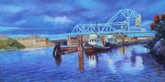 This image of the bridge would be history for Victoria, BC. Victoria, Fine Art, History, Bridge, Blue, Painting, Journal, Image, Painting Art