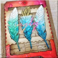 Everyday Ombre Feather Burlap Panel by Bobbi Smith | www.rangerink.com