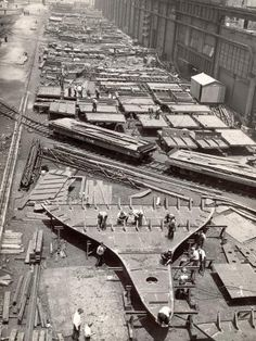 size: Photographic Print: Construction Yard of Bethlehem Ship Building Corp. Where Frames and Bulkheads are Preassembled by Margaret Bourke-White : Fort Peck Dam, Margaret Bourke White, Underground Bunker, Model Ships, Banksy, Historical Photos, Find Art, Scenery, Yard