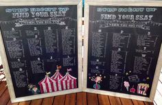 Hand drawn seating chart for carnival themed birthday or bar mitzvah