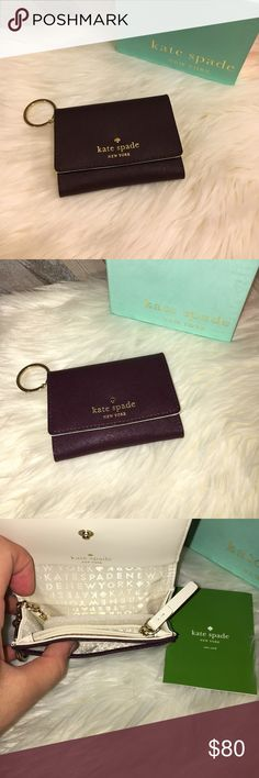 """Kate Spade Keychain Wallet Brand new with tags Kate Spade keychain wallet; """"mahogany"""" color so it's a really pretty burgundy color. Gold hardward. 1 ID holder, cash slot, change pouch and places to store your credit cards. Perfect to put on your keys and carry on the go! I have one similar to this that I've been using for months and I love it! Just decided I didn't want to keep this color any more! NO TRADES NO LOWBALLING kate spade Accessories Key & Card Holders"""
