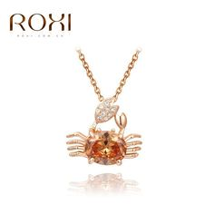 3.92$  Buy here - http://aicap.worlditems.win/redirect/1392547403 - ROXI Cute Crab Shaped long Necklace Jewelry Rose Gold Color Shining Austria Crystal Pendant Necklace Charming Mother's Gifts   #magazineonlinebeautiful