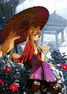Spice and Wolf Tags: Anime, Shiden (Artist), Japanese Umbrella, Snowing, Shimenawa, Paper, Shrine