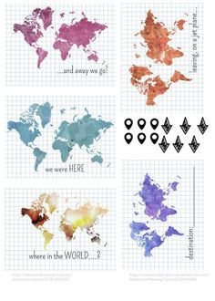 Map related PL Printables free for Project Life