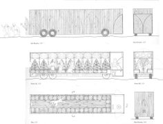 Section through the Drunken Pilgrim by Em Cheng, a tour bus that transports Chaucer's thirty-two pilgrims travelling from the Tabard Inn in London to the Canterbury Cathedral, located sixty miles south-east.