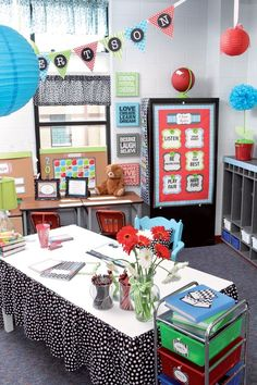 15. TEACHER WORK SPACE #1: Decorate your #classroom in trendsetting fashion with our NEW Isabella Collection! From #décor to storage and much much more, coordinating designs and cute colors cover everything necessary to transform your classroom into a creative environment. Chic patterns include the latest looks of chevron, quatrefoil, polka dots, and stripes to spruce up any space. Pretty and practical—the best of both worlds! Shop our Isabella classroom decorations now!