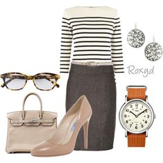 Cute outfit! Love the nude shoes and boat collar sweater. #stripes #nude #tortoise