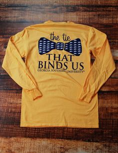 Be part of the Tie that Bind Georgia Southern University! This t-shirt design is bomb by the way, that's always a plus. AND it is a Comfort Color T-shirt... hence the word COMFORT! Go Eagles!