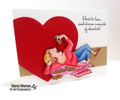 Art Impressions Rubber Stamps: Ai Valentine's: Love and Chocolate Set (Sku#4367) ... handmade card. heart, candy