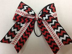 2.5 Chevron softball or baseball bow red black by CheerGirlBows, $13.00