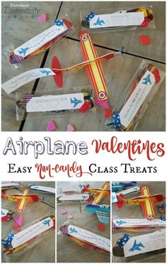 Kiddos love these Airplane Valentines and they make the perfect non-candy Valentine class gift. Print off these adorable free sayings as well! Valentines Day Treats, Funny Valentine, Kids Valentines, Valentine Ideas, Valentine Gifts, Easy Crafts, Crafts For Kids, Airplane Crafts, Airplane Party