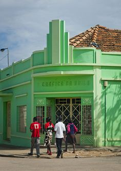 Green art deco building, Lubango, Angola. It would be awesome to find a building like this to have it in