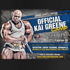 The Official Kai Greene Camp Tickets available NOW! Seminar ✔️ Nutrition & Training ✔️ Group Workout ✔️ Live Masterpiece Art Project ✔️  All Day Event  Purchase your ticket at www.officialkaigreene.com Train Group, Group Fitness, Kai, Ticket, Art Projects, Nutrition, Art Designs, Meals
