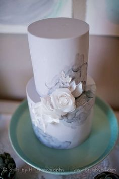 Stunning cake at a watercolor baby shower party! See more party planning ideas at CatchMyParty.com!