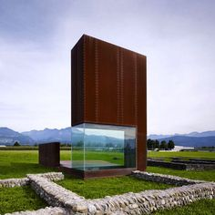 an occupiable sculpture by marte marte architekten, is placed over the ruins of two ancient roman structures, offering important insight on the settlement, located in the feldkirch region of #austria. #corten #architecture