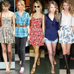 Taylor Swift; she certainly has a cute style. :) I wonder of she'd let me raid her closet? lol :)