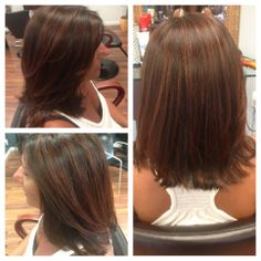 Chocolate copper highlights with a dark brown base, perfect for fall hair style