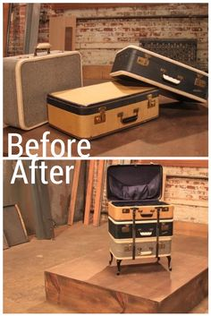 Three Vintage Suitcases = Side Table Suitcase Table, Vintage Luggage, Upcycled Furniture, Furniture Projects, Diy Furniture, Flea Market Flips, Second Hand Stores, Blanket Storage, Laundry Hamper
