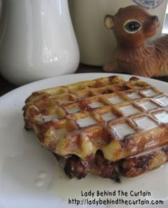 Cinnamon Roll Waffles with Cream Cheese Syrup - Make using a can of store-bought cinnamon rolls!
