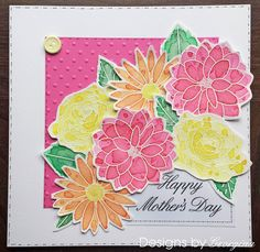 Mother's Day card using Designs by Georgina Floral Trio stamp set. Flowers coloured with Color Burst.