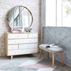Paulownia Wood Scandinavian 6-Drawer Chest in White Spring | Maisons du Monde