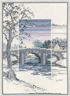 """The Old Bridge - Sunsets - Cross Stitch Kit by Derwentwater Designs; I like the interior """"framing"""" of this design"""