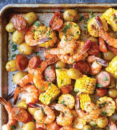 This easy and delicious no-boil shrimp bake is a recipe that will undoubtedly be repeated over and over in your kitchen. The best part: You can make it in one sheet pan for minimal clean up.