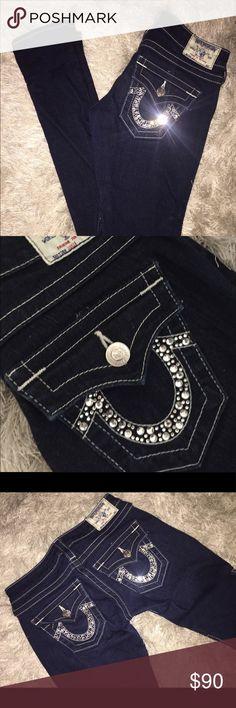 True Religion Rhinestone Skinny Jeans True Religion Jeans with silver rhinestoned pockets! Worn only a few times. True Religion Jeans Skinny