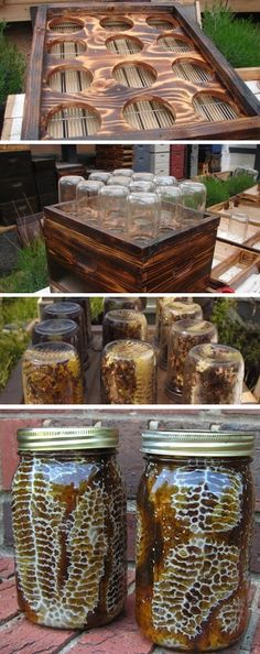 DIY Beehive in a Jar - Backyard Honey with this easy project. Honey with comb, already made inside of a mason jar! Fat Bee Man videos are also educational The Farm, Small Farm, Backyard Projects, Outdoor Projects, Easy Diy Projects, Backyard Ideas, Farm Gardens, Outdoor Gardens, Veggie Gardens