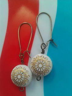 Vintage Lucite Gold Flower Earrings ($18)