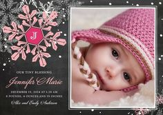 Chalk Snowflakes - Winter Girl Birth Announcements by Fine Moments for Tiny Prints in Begonia Pink