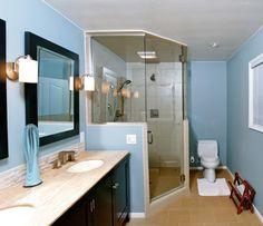 1000 images about showers on pinterest corner showers for Baby blue bathroom ideas