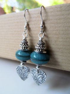 Teal Blue Artisan Lampwork Glass and Hearts Sterling by BeadedTail, $20.00