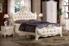 1.8m European style leather double bed ( transparent crystal buttons ) - MelodyHome.com