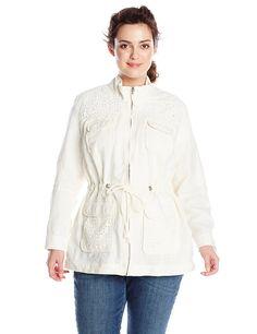 Lucky Brand Women's Plus Size Linen Eyelet Jacket, Ivory, Plus Size Coats, Plus Size Dresses, Lucky Brand, Plus Size Fashion, Hooded Jacket, Cool Style, Stylish, Jackets, Tops