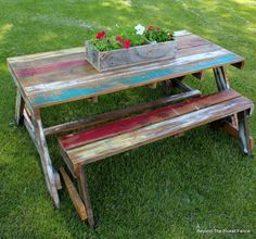35 ideas for backyard furniture wood picnic tables 35 ideas for backyard furniture wood picnic table Painted Picnic Tables, Pallet Picnic Tables, Kids Picnic Table, Backyard Picnic, Rustic Outdoor Furniture, Outdoor Garden Furniture, Wood Furniture, Modern Furniture, Porch Furniture