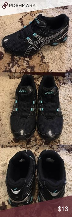 Asics Gel Frantic 5 Sneakers Asics Gel Frantic 5 Sneakers. Size 7. Colors are Black, Silver and Blue. Laces are missing. Label inside shoe is worn, otherwise good pre-loved condition. Final sale. Asics Shoes Sneakers