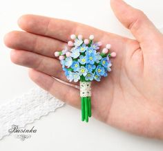Forget me Nots brooch Blue flower brooch Flowers forget-me jewelry Forget nots broach Spring flower pin Unique gift for girl Gift for mom - Inspiration for using polymer clay - Gift Ideas Polymer Clay Flowers, Polymer Clay Crafts, Polymer Clay Jewelry, Unique Gifts For Girls, Gifts For Mom, 3d Quilling, Clay Miniatures, Beaded Brooch, Clay Tutorials