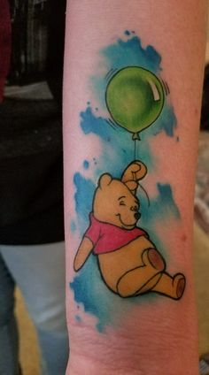 Winnie the Pooh Brookston Church Bakersfield CA Grandma Tattoos, Dad Tattoos, Friend Tattoos, Cute Tattoos, Beautiful Tattoos, Cute Disney Tattoos, Disney Sleeve Tattoos, Cartoon Character Tattoos, Cartoon Tattoos