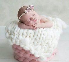 Baby Kammzug Grobstrick Decke Fotoshooting Newborn Neugeborenen Fotografie