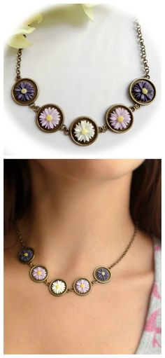 Violet Ombre Necklace Resin Flower Cameo Necklace by Portenya