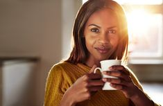 Smiling friendly young black woman drinking coffee Coffee Stock, Coffee Drinks, Drinking Coffee, Coffee Images, Good Morning Coffee, Fun Cup, Young Black, Photos Of Women, Royalty Free Photos