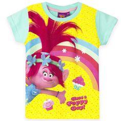 DreamWorks Trolls Girls Short Sleeve Top, T-Shirt 3-8 years - Turquoise