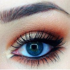 Lava This look uses shades of brown, gold, and orange brown for a gorgeous day to night look. Eye liner and mascara complete the look.