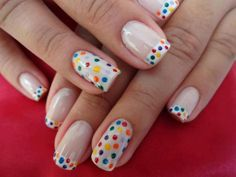 Vicky Kallinteridis, coloured dots on white nails & French manicure mix