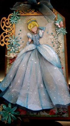 Gorgeous Cinderella Handmade Card with lots of sparkle, tulle, and rhinestones. Prima Paper Dolls, Prima Doll Stamps, Scrapbook Da Disney, Disney Cards, Little Presents, Dress Card, Art N Craft, Paperclay, Graphic 45