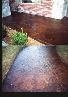 Stamped and acid stained concrete.