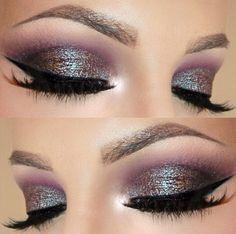 Purple glitter cut crease. Makeup   Barbarabeaute barbarabeauté