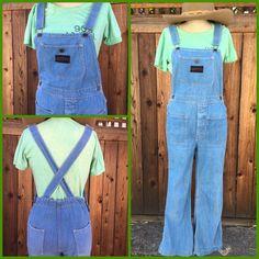 Vintage 70s Denim Bib Pocket Overalls Bell Bottom Jeans Jumper    eBay