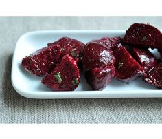 Five-Ingredient Fall Salads: Beets and Herbs Salad. Sprinkle beets with olive oil and salt, then wrap in a packet of foil and roast in a 375-degree oven, about 30 minutes. While the beets are still warm, peel them and slice into wedges, then add dressing: whisk Dijon mustard, sherry vinegar, salt and pepper. Sprinkle with chopped basil, tarragon, chives, and mint.  #SelfMagazine